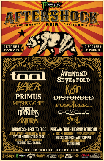 Monster Energy AFTERSHOCK 2016 flyer with band lineup and venue details