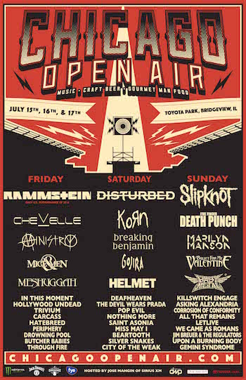 Chicago Open Air flyer with daily band lineup and venue details