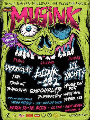 Travis Barker presents the 11th annual MUSINK zombie-themed flyer with band lineup & venue details