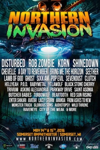 Northern Invasion flyer with band lineup and venue information