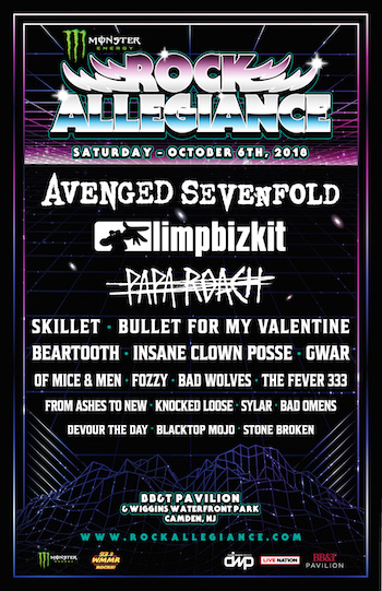 Monster Energy Rock Allegiance 2018 flyer with band lineup and venue details