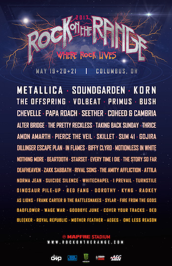 Rock On The Range 2017 flyer with band lineup