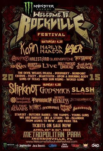 Monster Energy Welcome To Rockville flyer with daily band lineups