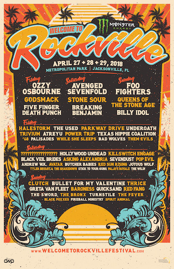 Monster Energy Welcome To Rockville 2018 flyer with daily band lineup and venue details