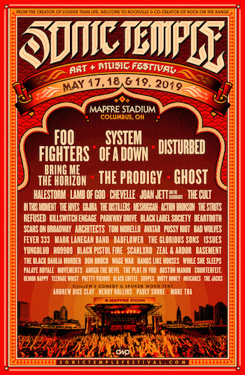 Sonic Temple flyer with band lineup
