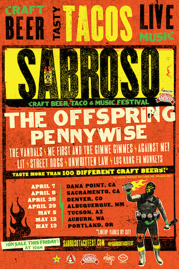 Sabroso Craft Beer, Taco & Music Festival, powered by Gringo Bandito flyer with band list (lineup varies by city) & tour dates