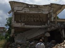 Collapsed wall at Camp ARMEN