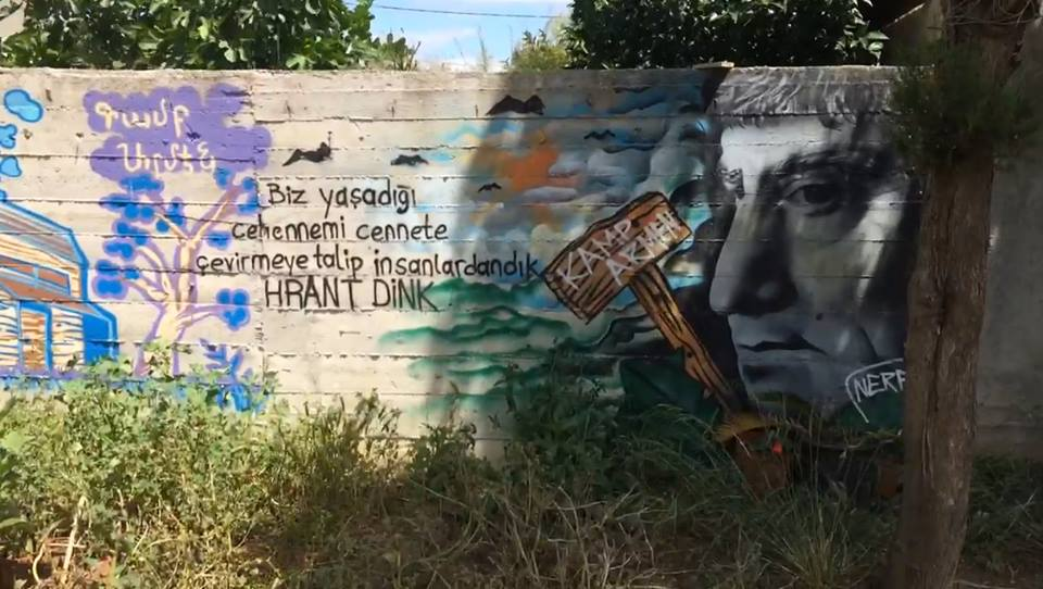 Mural of Hrant Dink at Camp ARMEN