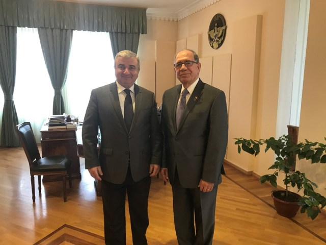 Zaven Khanjian with the President of Artsakh Republic Parliament
