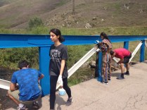 A new paint job for the bridge at the entrance of the AMAA's Sheen-Shoghik Camp, Hankavan