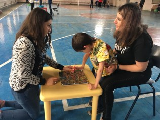 Helping out with a special VBS program for children with disabilities at the Vanatzor Shogh Center (12 Aug. 2018)