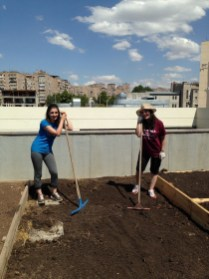 Avedissian: A pause in the heavy work, preparing planters on the roof of the Avedissian School in Yerevan (13 Aug. 2018)