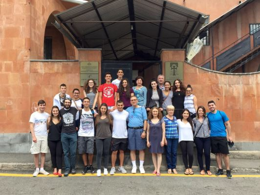 The Interns with the AMAA staff at AMAA's Nicol Tuman Center in Yerevan, Armenia