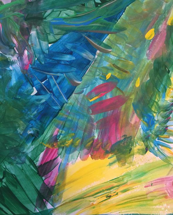 Poesia acompañada por pintura abstracta