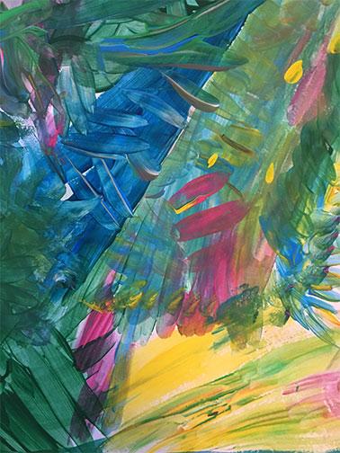 pintura abstracta colores vivos acrílico sobre papel