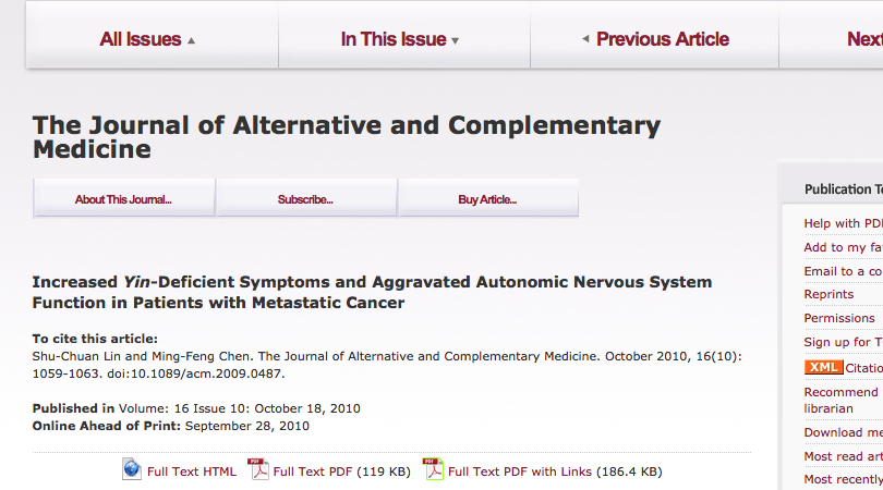 Shu-Chuan Lin & Ming-Feng Chen (2010). Increased Yin-Deficient Symptoms and Autonomic Nervous System Function in Patients with Metastatic Cancer