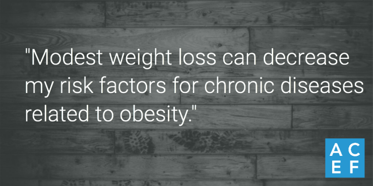 """Modest weight loss can decrease my risk factors for chronic diseases related to obesity. Yes, I can achieve modest weight loss."""
