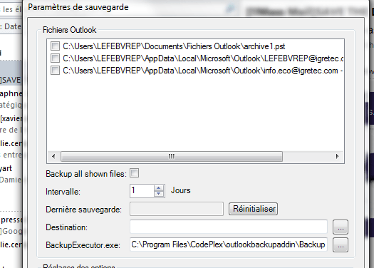Faire des backups automatiques d'Outlook