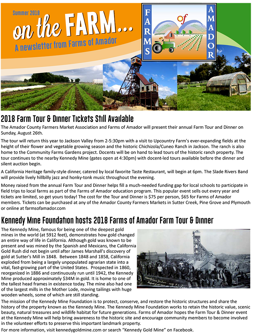 Farms of Amador Fall 2018 Newsletter