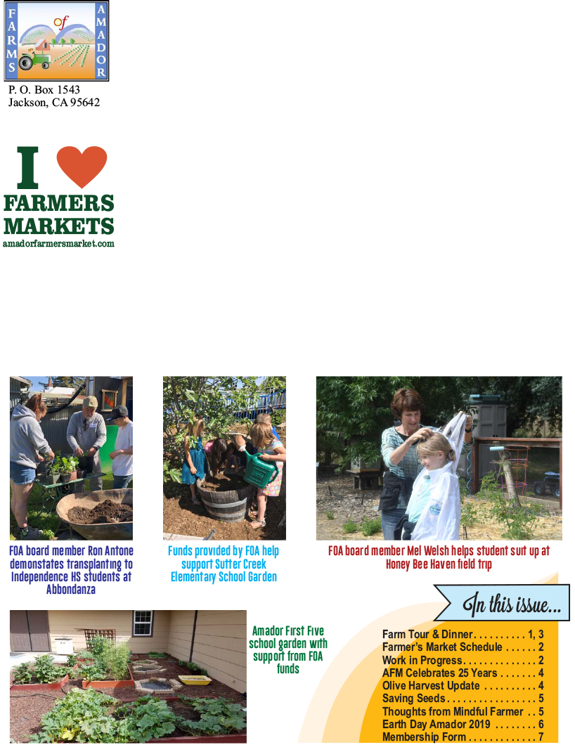 Summer 2018 Farms of Amador Newsletter