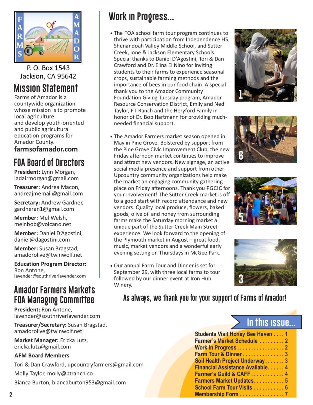 Summer 2019 newsletter pg 2