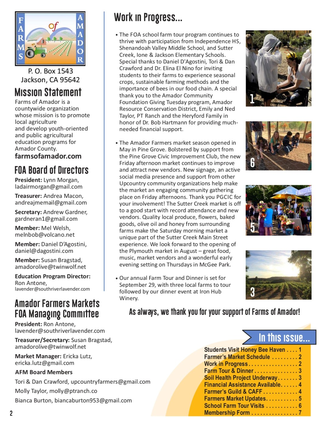 Summer 2019 newsletter pg 2