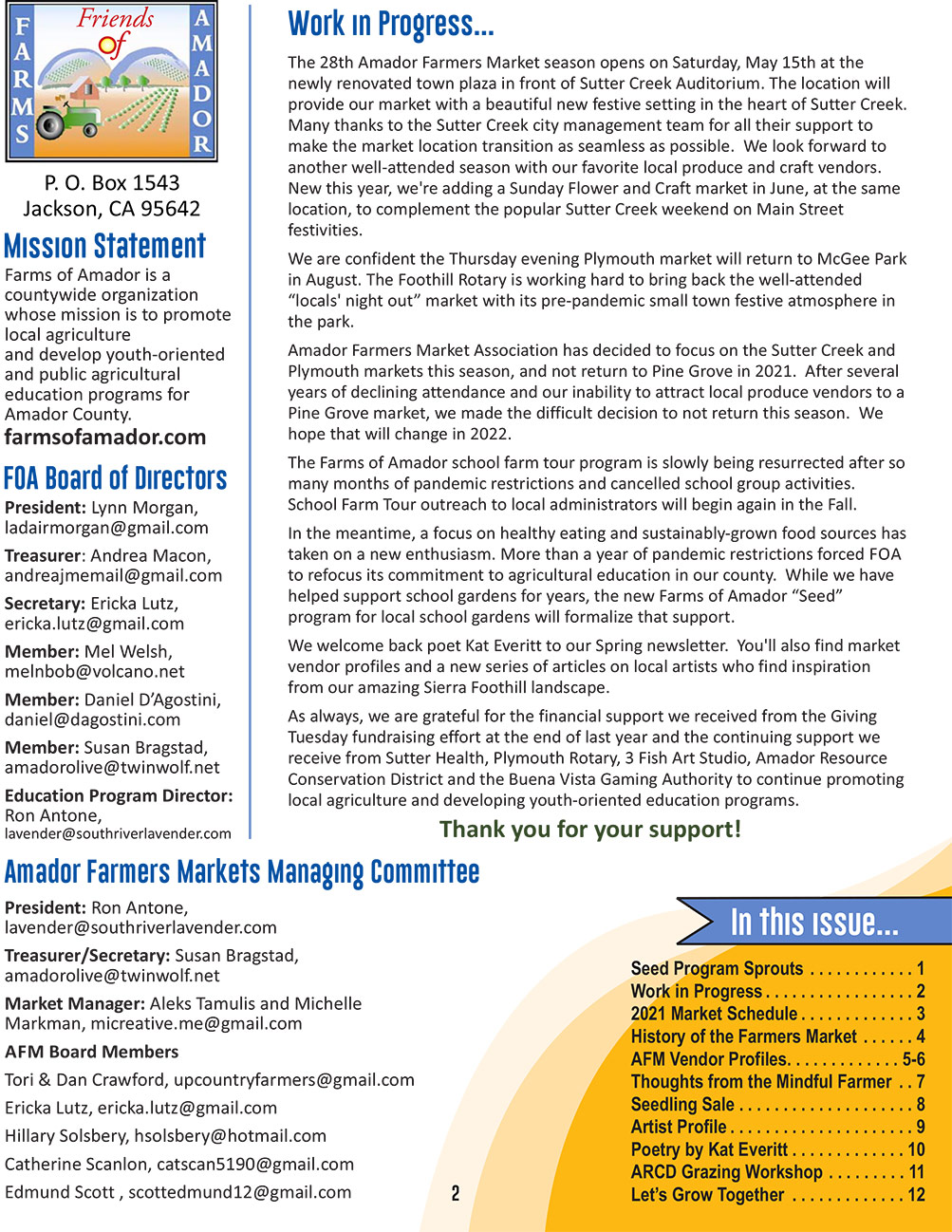 foa spring newsletter pg 2