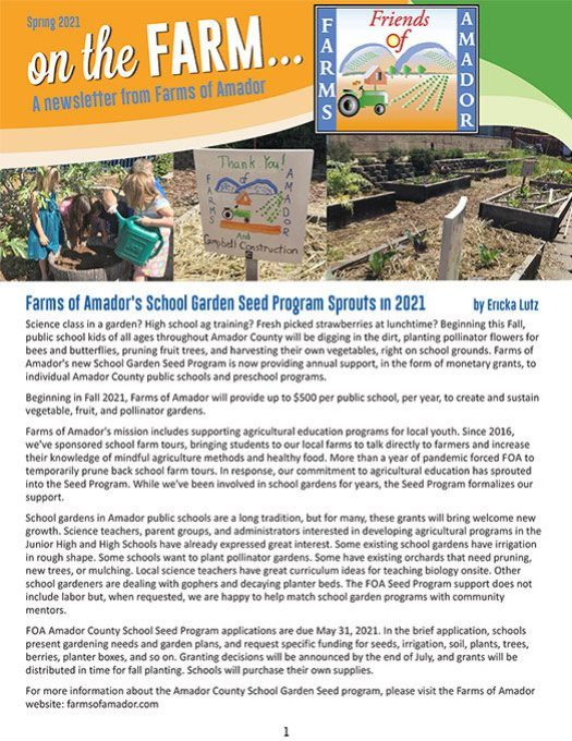 Farms of Amador Spring Newsletter