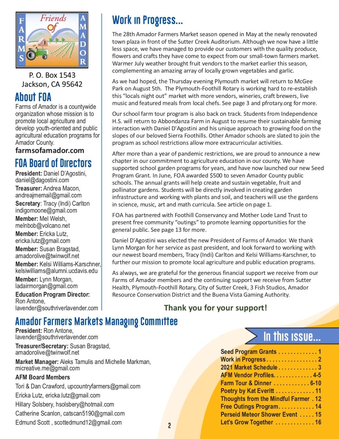 FOA Newsletter - Summer 2021 - pg 2