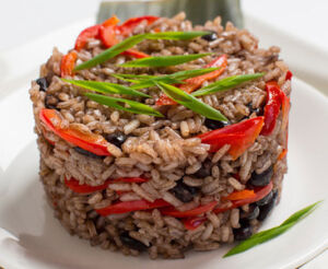 black beans and rice, beans, rice, red bell peppers, healthy recipe, vegetarian