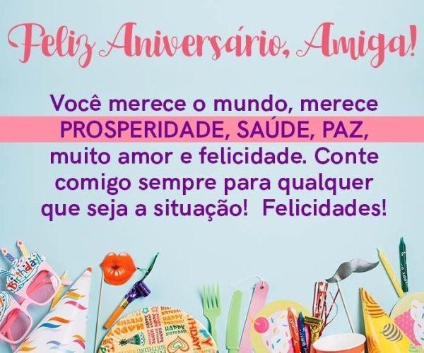 Feliz aniversário amiga, com prosperidade e saúde