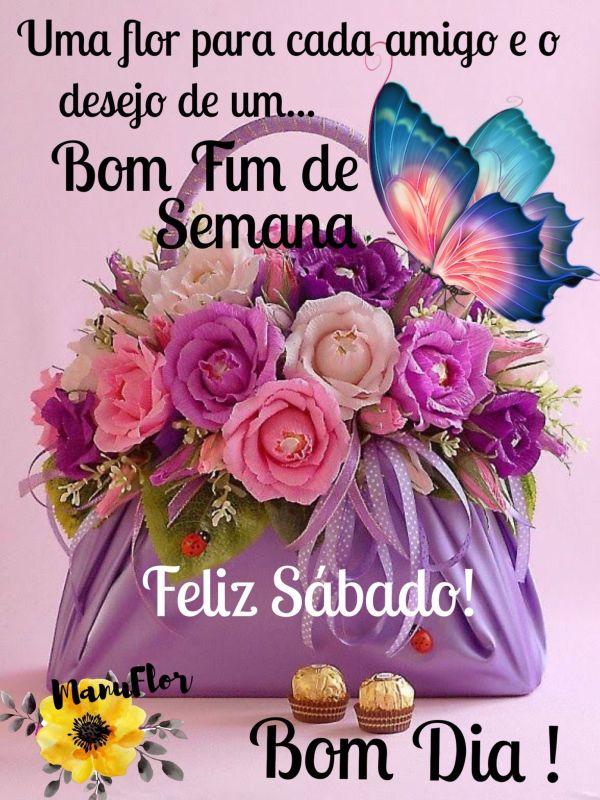 Feliz sábado com uma cesta de rosas
