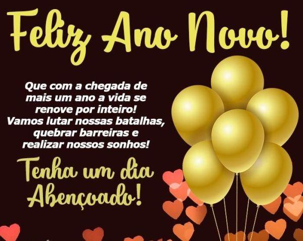 Feliz ano novo com balões