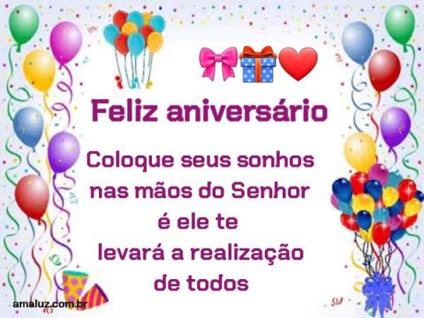 feliz aniversário coloque seus sonhos nas mãos de Deus