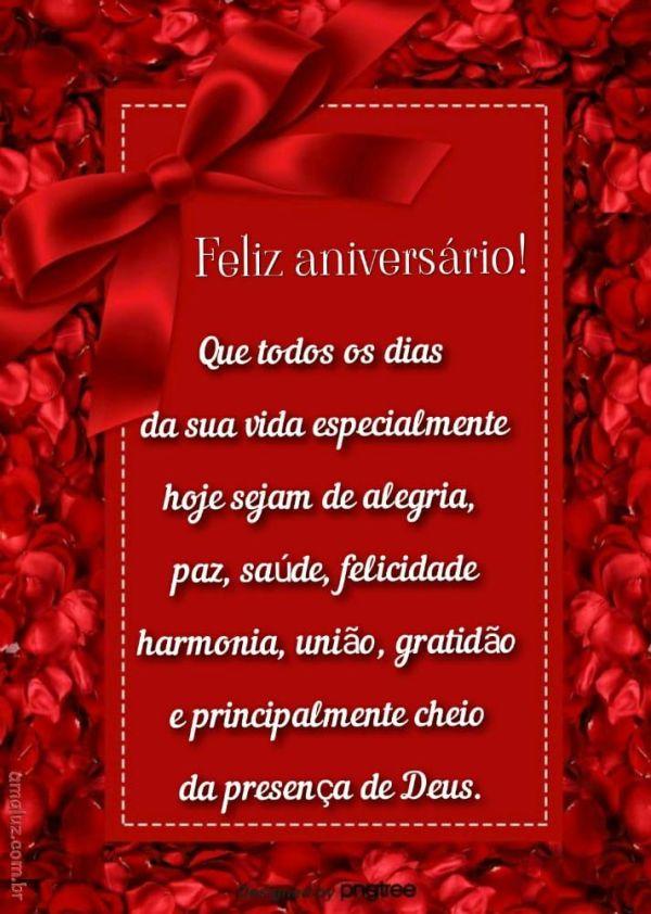 imagem com fundo vermelho e laço de feliz aniversario para prima