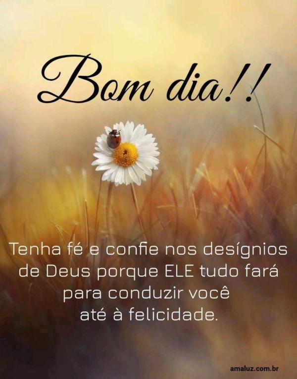 Deus te conduzirá para a felicidade bom dia