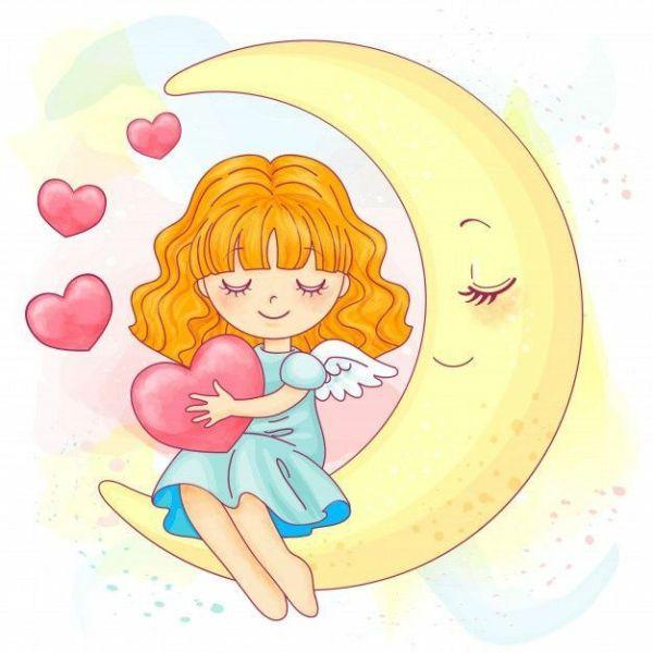 anjinho na lua com coração