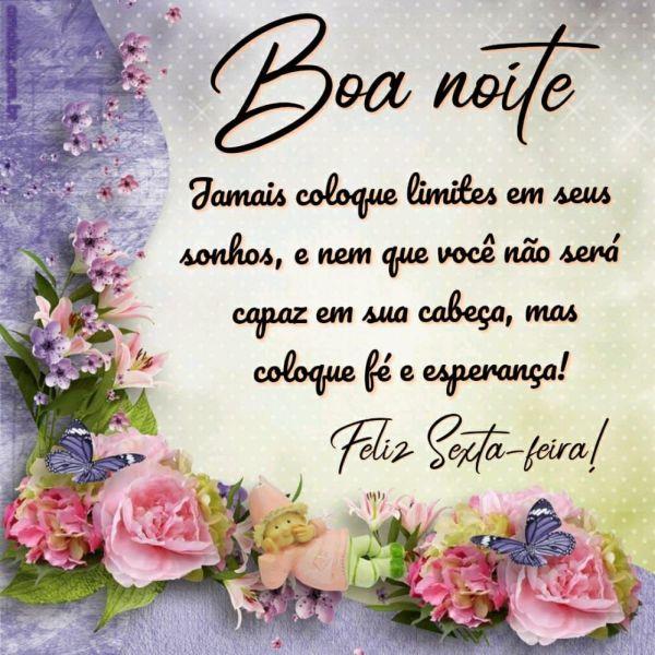boa noite coloque fé e esperança feliz sexta feira