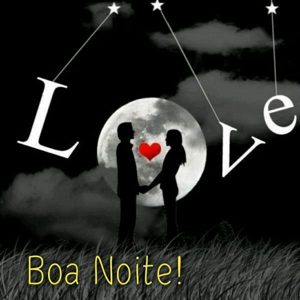 boa noite love com casal de mão dadas a luz brilhante da lua