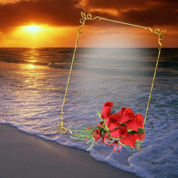 imagem com mar e por do sol