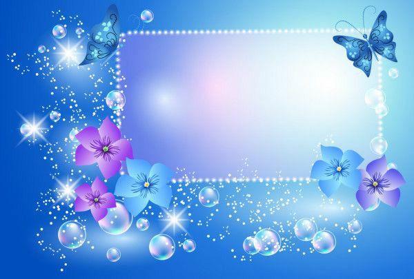 imagem com quadro fundo azul borbeletas e lindas flores