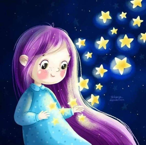 menininha dos cabelos roxos e estrelas brilhantes