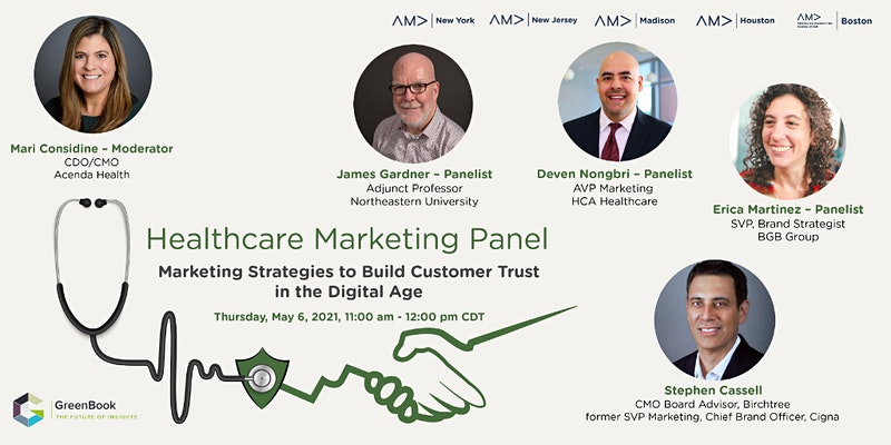 May healthcare marketing panel banner with speaker headshots