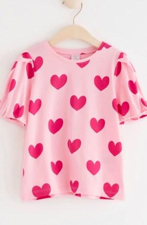 Pink heart print top