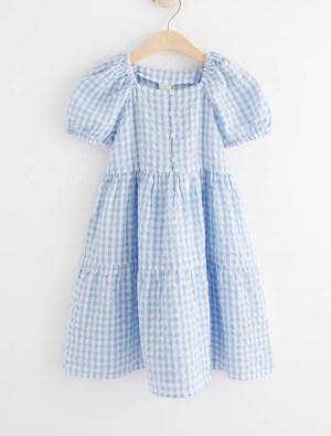 Checked Pastel Blue Dress