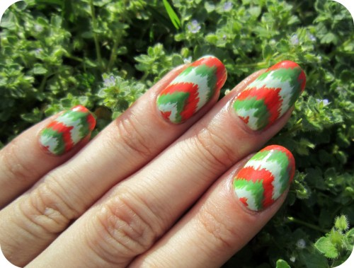 Orange, white & green chevron. Source.