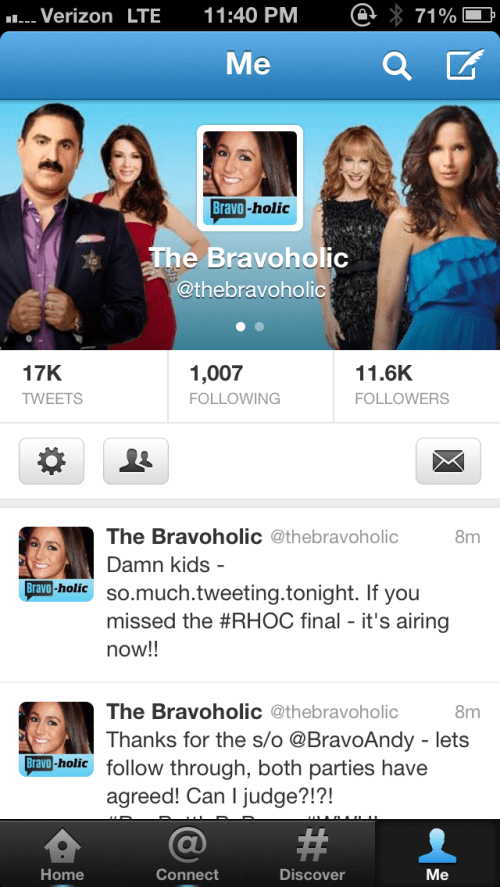 If you didn't know, I was the Bravoholic last week ;)