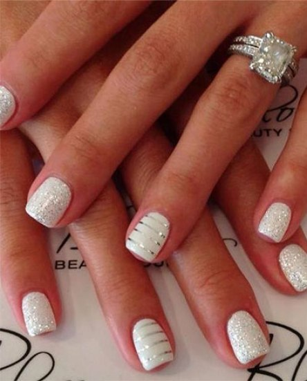 This glistening white mani seen on Brides.com