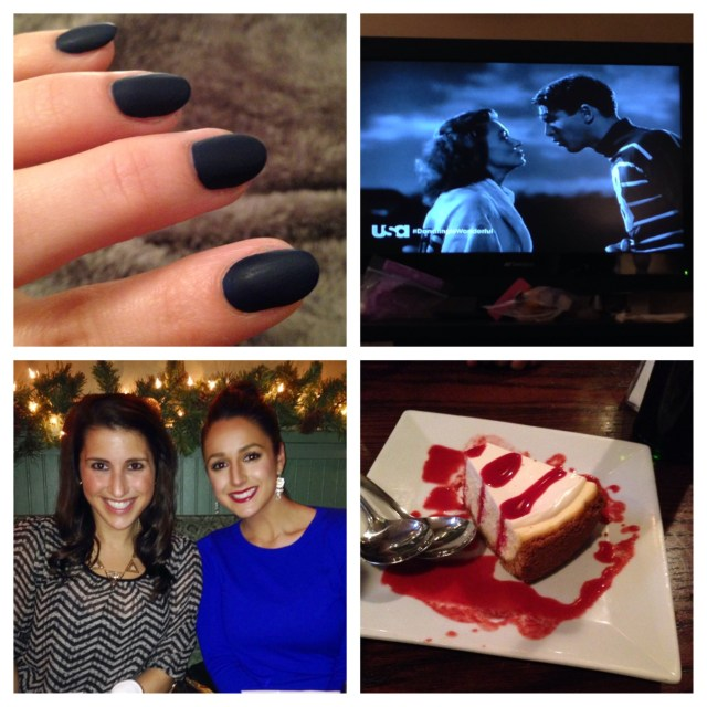 "A quick mani! I went with Sinful Colors ""Cold Leather"" - it's already losing it's matte finish, but I'll have to change it before Christmas anyways. Watching It's A Wonderful Life - one of my favorite Christmas movies. Enjoying dinner before Mike's show with my  roomie, sister & her boyfriend. Of course we had dessert :)"