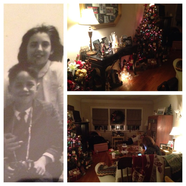 After brunch we hung out at AJ's cozy little place. It was all decked out for Christmas & felt like an antique shop, or a holiday store. The picture on the left is of her & my Dad - he & I could have been the same baby!